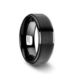 Tungsten Carbide flat men's wedding ring with raised brushed center and polished edges