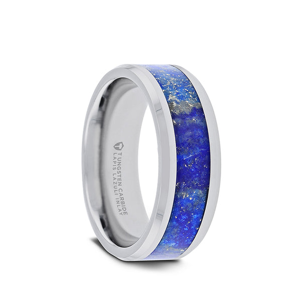 Tungsten men's wedding band with blue lapis lazuli inlay and polished beveled edges.