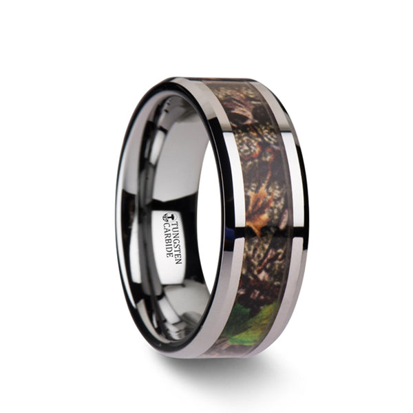 Tungsten wedding band with tree camouflage and beveled edges