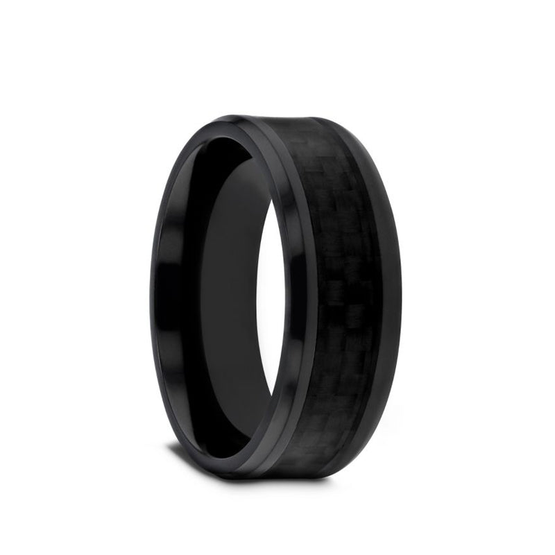 Black Titanium men's wedding ring with black carbon fiber inlay and beveled edges.