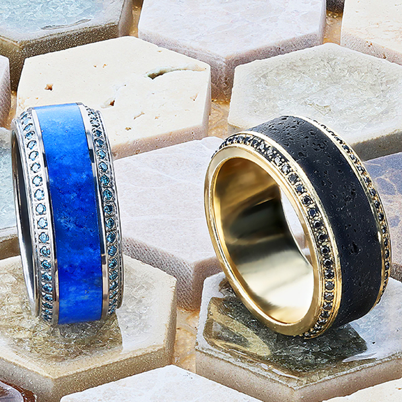 Titanium Wedding Ring with Lapis Lazuli Inlay and set with Blue Diamonds
