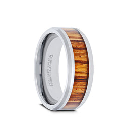Tungsten Carbide ring with real zebra wood inlay and polished, beveled edges.