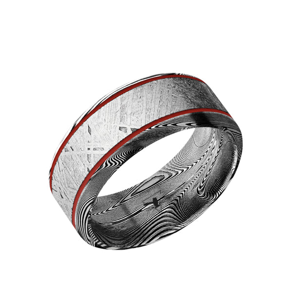 Damascus men's wedding band with a 5mm meteorite inlay, parallel red grooves and beveled edges.