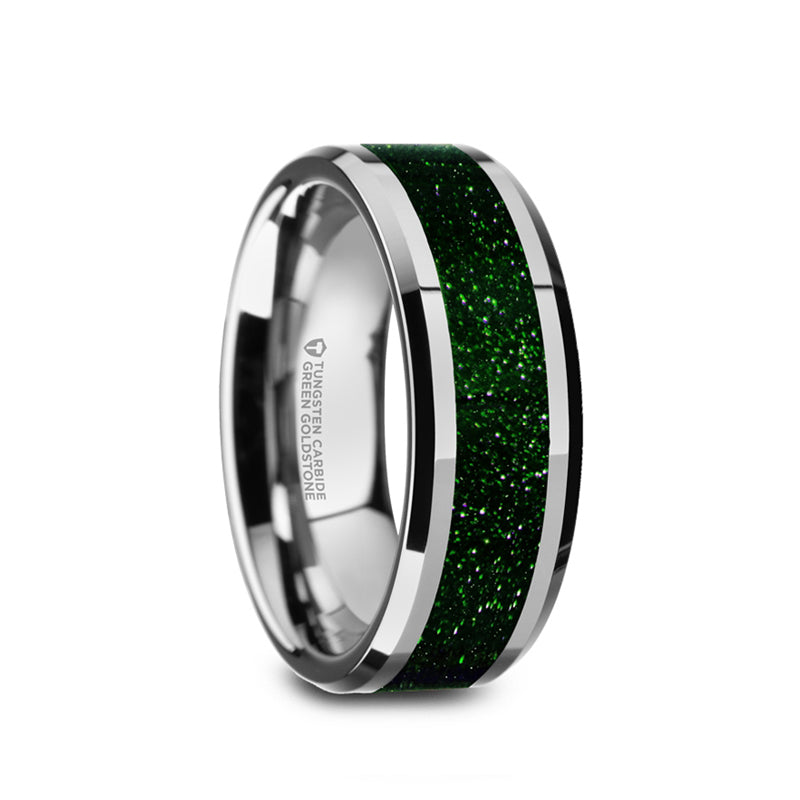 Tungsten men's wedding band with green goldstone inlay and beveled edges