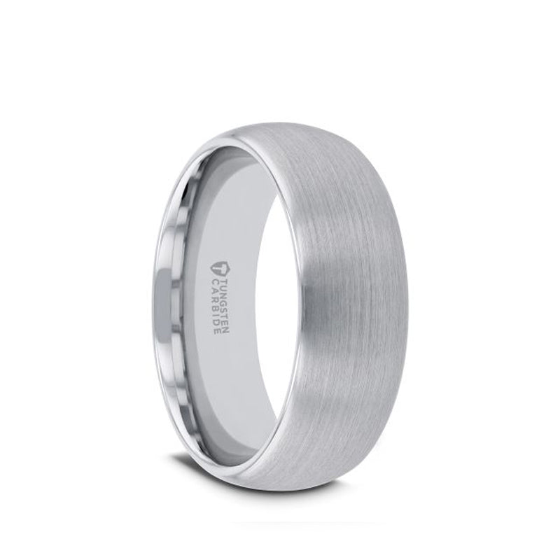 Rounded Tungsten Carbide men's wedding ring with brushed finish.