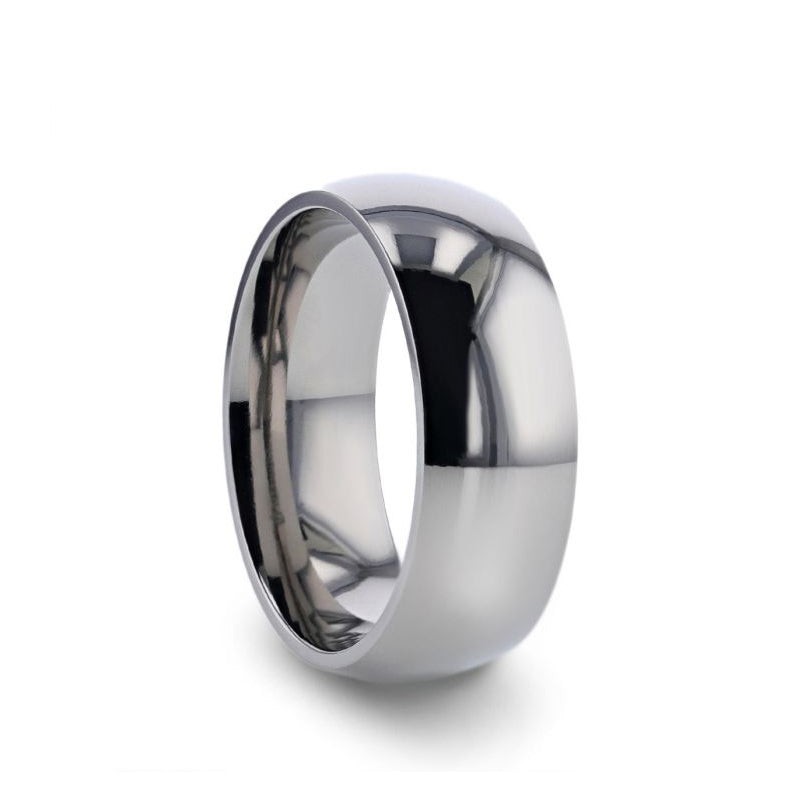 Titanium domed wedding ring with polished finish.