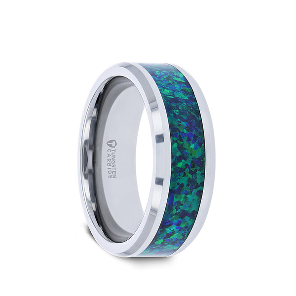 Tungsten men's wedding band with green blue opal inlay and polished, beveled edges.