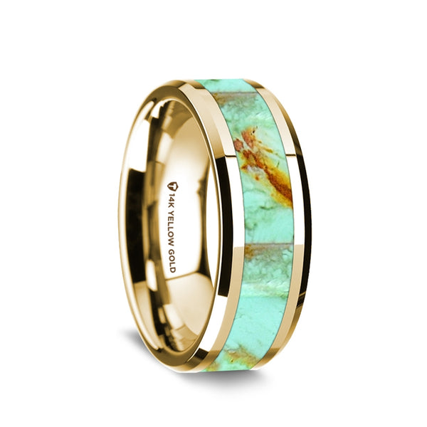 14K Gold men's wedding band with turquoise inlay and beveled edges