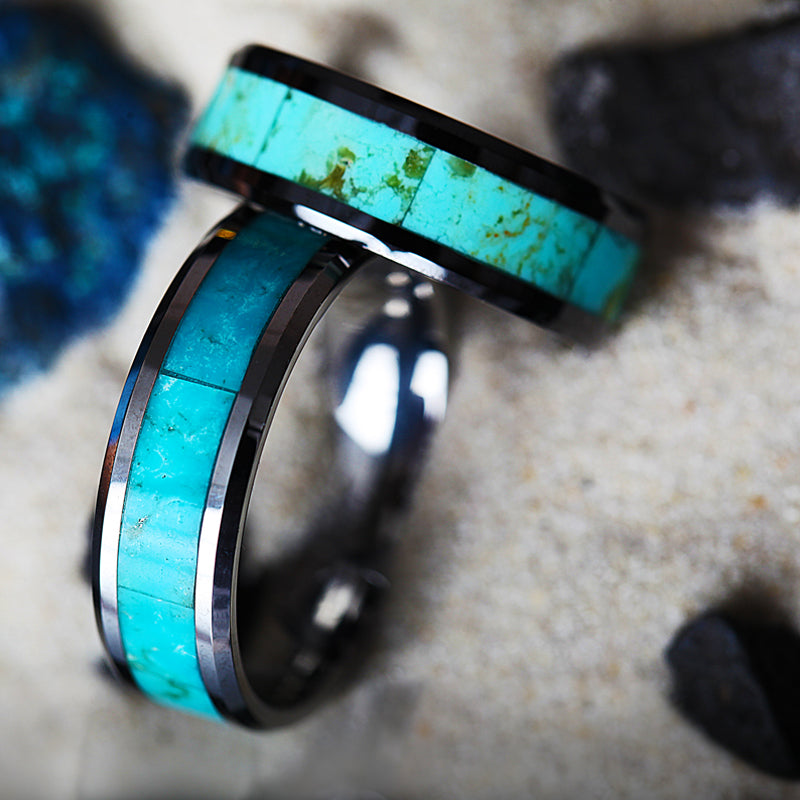 Tungsten Wedding band with beveled edges and light blue turquoise stone inlay
