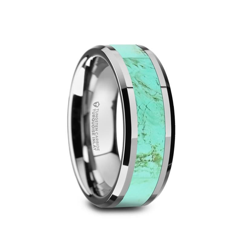 Tungsten men's wedding band with light blue turquoise stone inlay and beveled edges