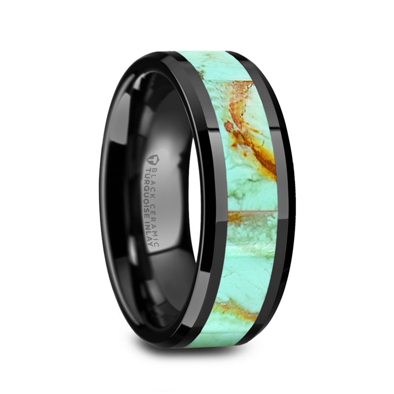 Black Ceramic men's wedding band with turquoise stone inlay and beveled edges