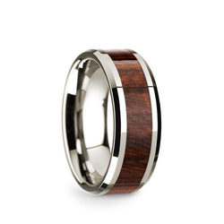14K White Gold men's wedding band with carpathian wood inlay and beveled edges