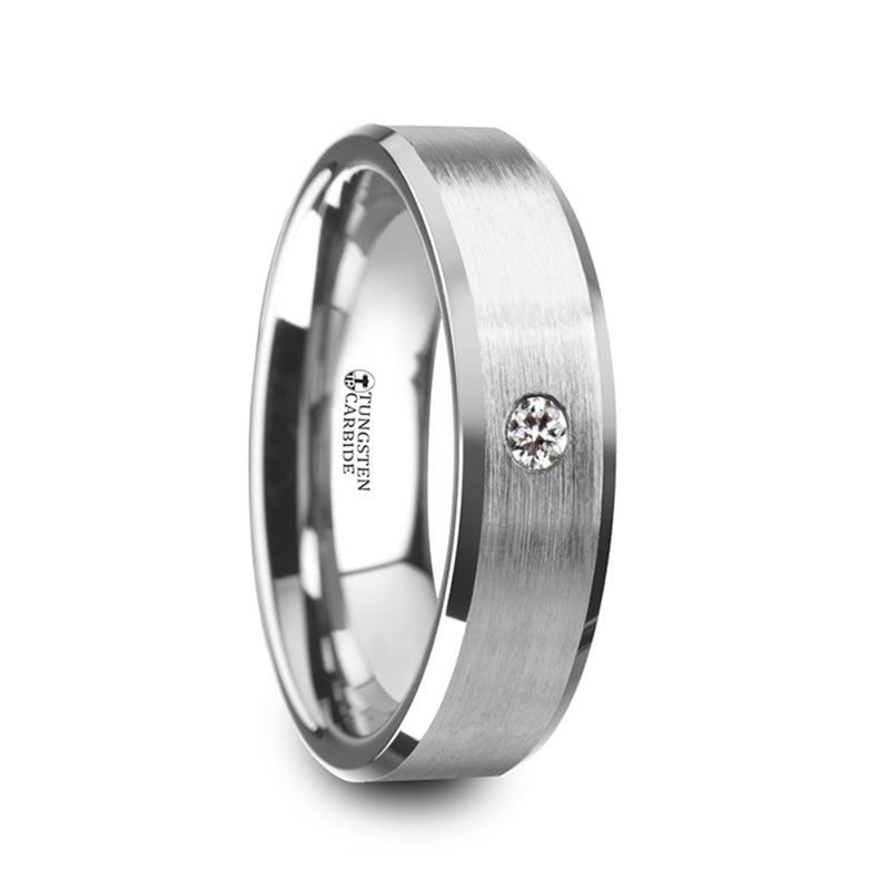 Tungsten men's wedding ring with brushed center, beveled edges and white diamond setting.