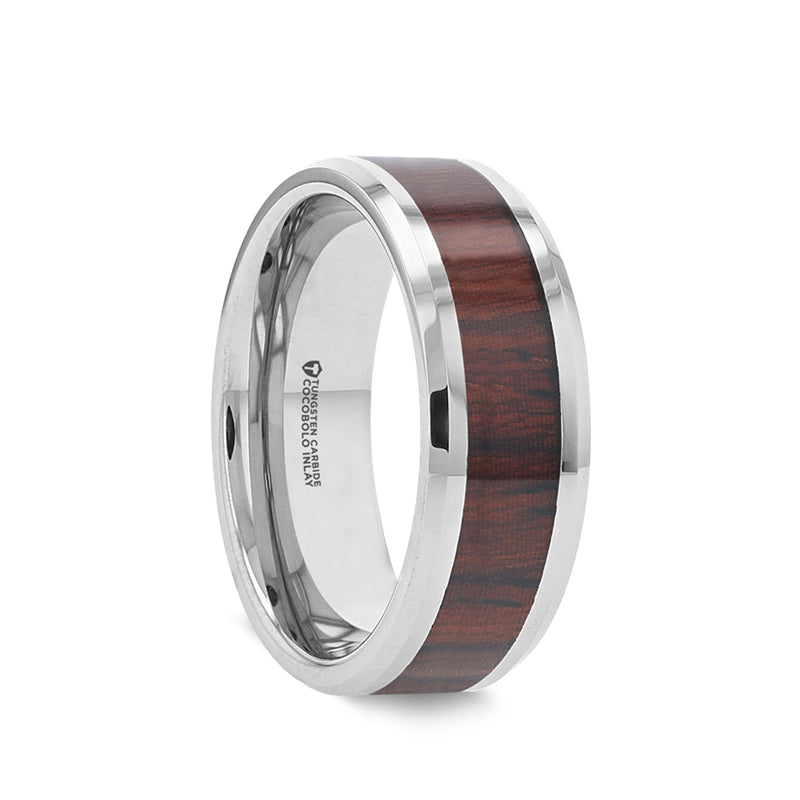 Tungsten Carbide domed men's wedding band with cocobolo wood inlay and polished finish