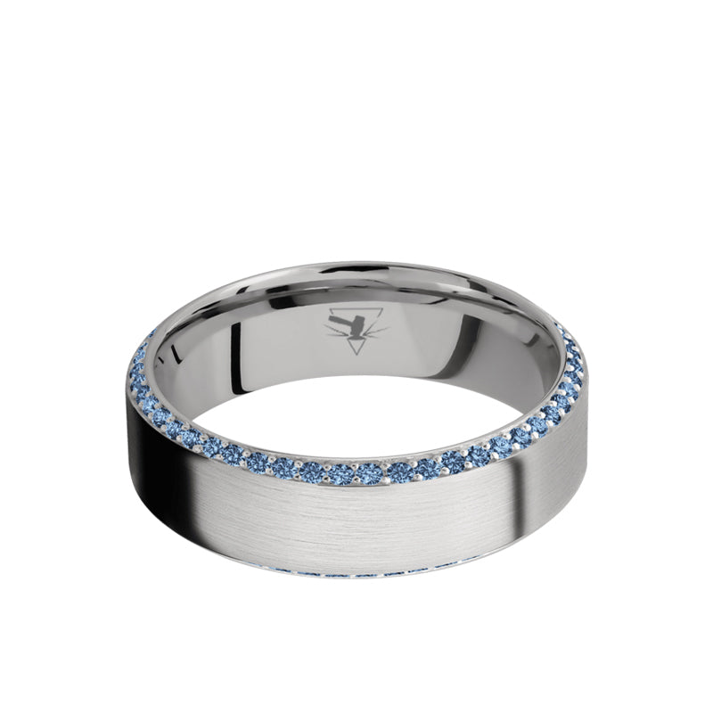 14K White Gold beveled men's wedding band featuring a bevel eternity arrangement of .01 carat denim sapphires and a brushed finish.