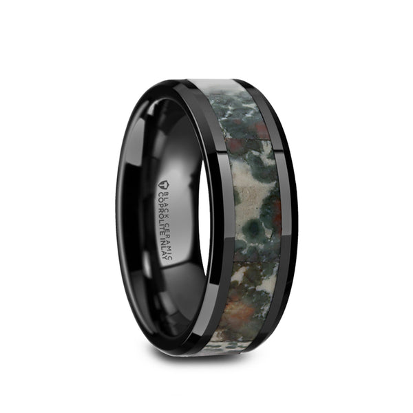 Black Ceramic men's wedding band with coprolite fossil inlay and beveled edges