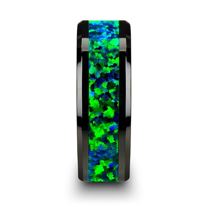 Black Ceramic men's wedding band with emerald green and sapphire blue color inlay and beveled edges