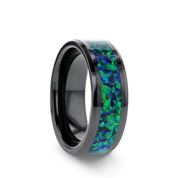 Black Ceramic men's wedding band with emerald green and sapphire blue color opal inlay and beveled edges