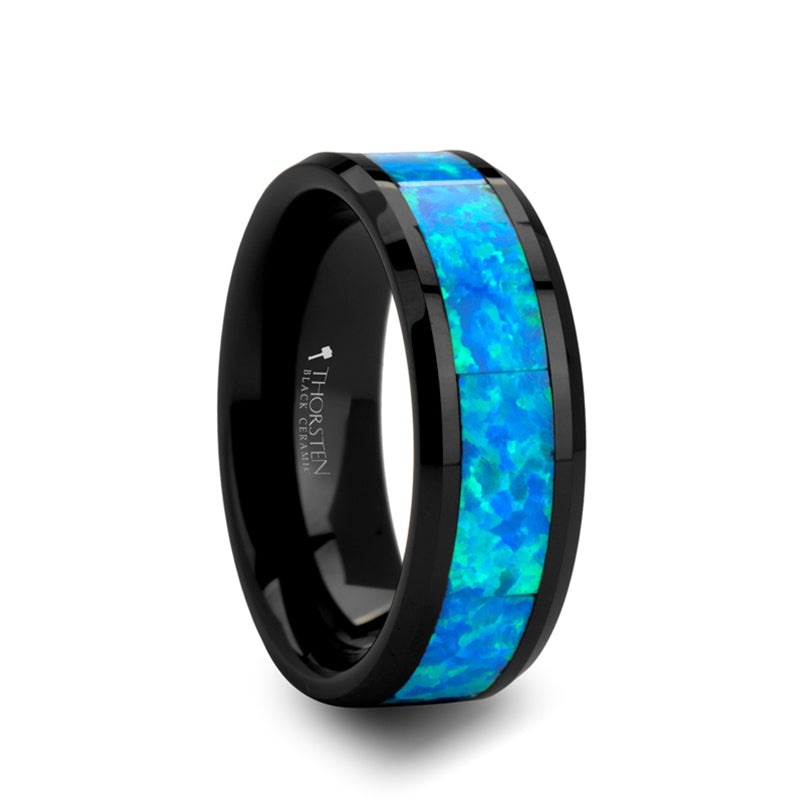 Black Ceramic men's wedding band with blue and green opal inlay and beveled edges