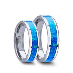Tungsten matching wedding bands with beveled edges and blue green opal inlay