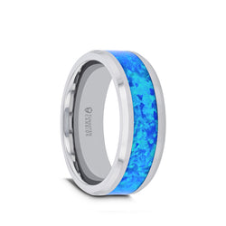 Tungsten men's wedding band with blue green opal inlay and beveled edges