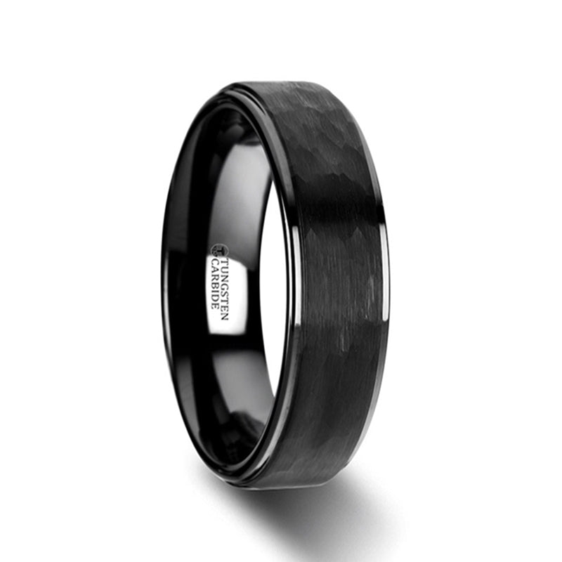 Tungsten Carbide wedding ring with raised hammered black center and stepped edges