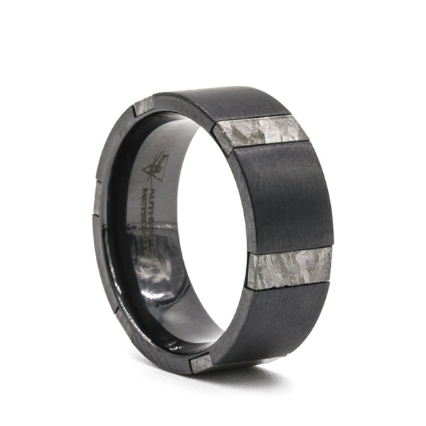 Black Zirconium flat men's wedding band with 6 pieces of 3mm meteorite inlays.