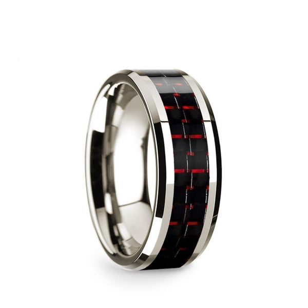 14K White Gold men's wedding band with black and red carbon fiber inlay and beveled edges.