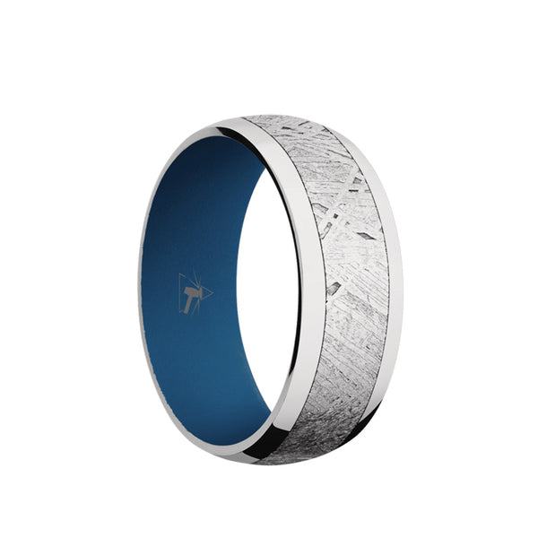 Cobalt Chrome domed men's wedding band with 5mm of meteorite inlay featuring a Ridgeway Blue sleeve.