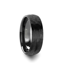Tungsten Carbide domed wedding ring with hammered finish