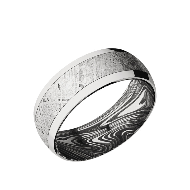 Cobalt Chrome domed men's wedding band with 5mm of meteorite inlay featuring a marble sleeve.