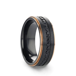 Black Titanium wedding ring with brushed finish, rose gold plated edges and black sapphires.