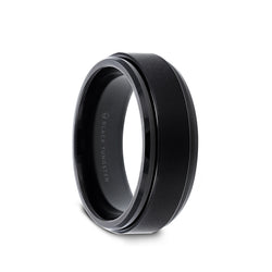 Tungsten Carbide men's spinner wedding ring with brushed finish