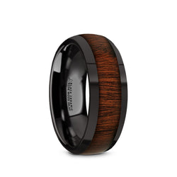 lack Ceramic domed men's wedding ring with rose wood inlay and polished finish