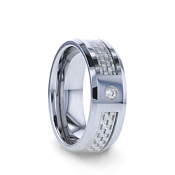 Tungsten wedding ring with white carbon fiber inlay, diamond setting and beveled edges