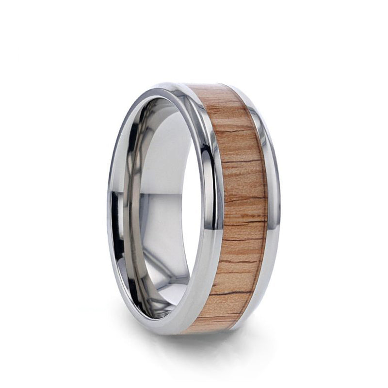 Titanium men's wedding ring with red oak wood inlay and beveled edges.