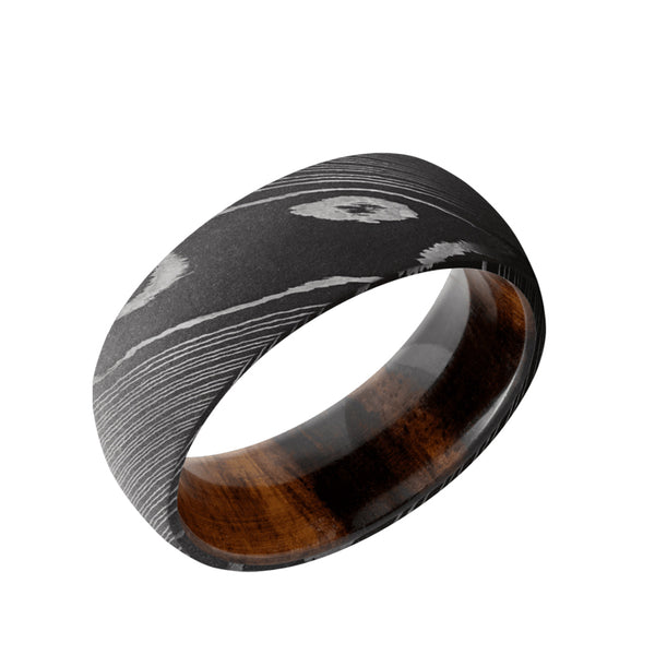 Damascus Steel domed men's wedding band in an acid wash featuring a Desert Iron Wood sleeve.