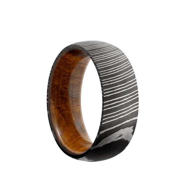 Damascus Steel domed men's wedding band in an acid wash and featuring a desert iron wood sleeve.