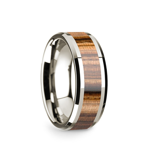 14K White Gold wedding band with zebra wood inlay and beveled edges