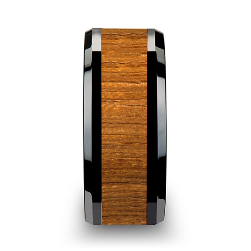 Black Ceramic domed men's wedding ring with teak wood inlay and polished finish