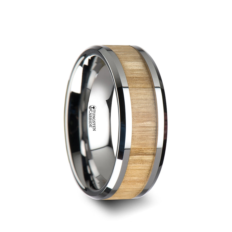Titanium men's wedding ring with red oak wood inlay and beveled edges