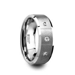 Satin finish Tungsten Carbide wedding ring with 3 white diamond settings and beveled edges. Tungsten is one of the toughest metals.