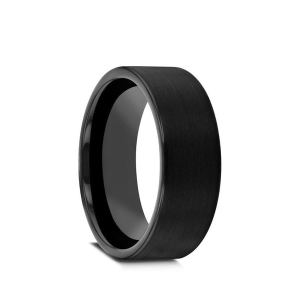Black Zirconium flat men's wedding ring with brushed finish.