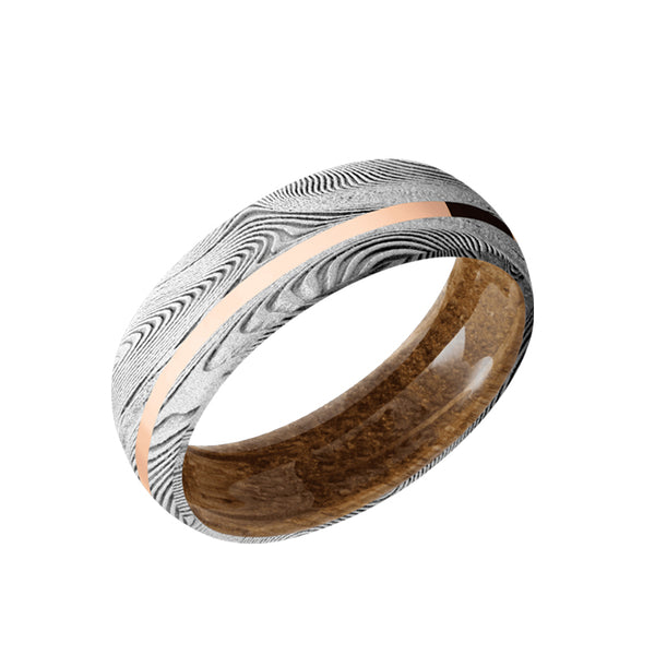 Tightweave Damascus domed men's wedding band with 1mm off center 14K solid rose gold inlay featuring a whiskey barrel wood sleeve.
