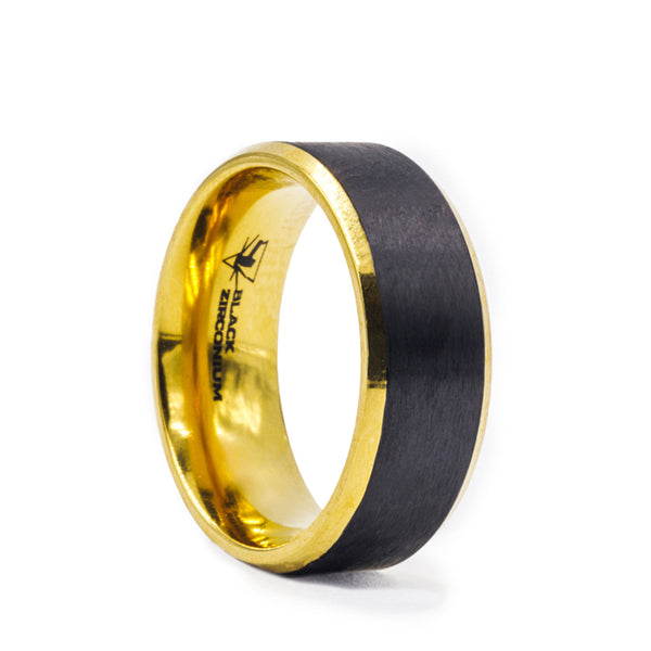 Black Zirconium wedding band with brushed black center, gold plated beveled edges and interior.