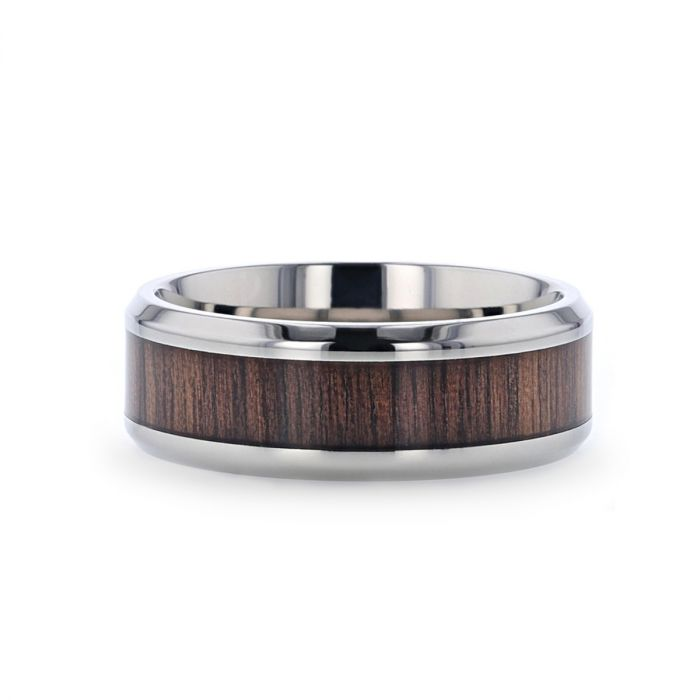 Titanium men's wedding ring with black walnut wood and beveled edges.