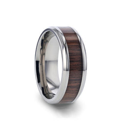 Titanium men's wedding ring with black walnut wood and beveled edges