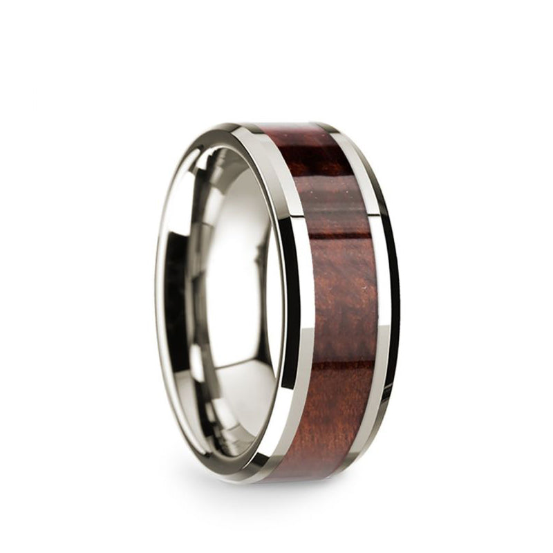 14K White Gold men's wedding band with redwood inlay and beveled edges.
