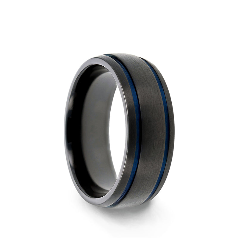 Black Titanium domed men's wedding ring with brushed finish and blue grooves.