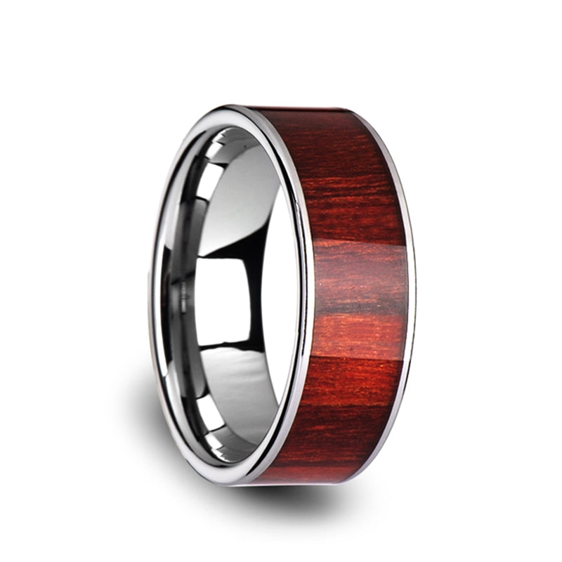 Tungsten Carbide flat men's wedding ring with exotic brazilian rose wood inlay and polished finish